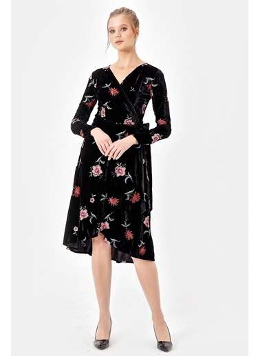Jument Nakışlı Velvet Kadife Anvelop Elbise Pudra
